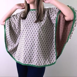 60s 70s Vintage Green Red White Cape Blouse